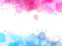 Abstract background with watercolor splashes. Abstract background banner with watercolor splashes frame. Blue and pink colored. Template painted background for Royalty Free Illustration