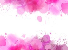 Abstract background with watercolor splashes. Abstract background banner with watercolor splashes frame. Bright pink  colored. Template painted background for Stock Photography