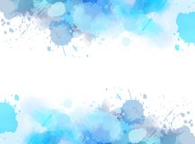 Abstract background with watercolor splashes. Abstract background banner with watercolor splashes frame. Blue colored. Template painted background for your Stock Images