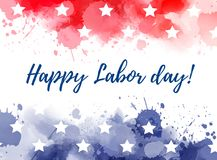 USA Happy Labor day. Abstract background with watercolor splashes in flag colors for USA. Blue and red colored with stars. Happy Labor Day holiday royalty free illustration