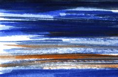 Abstract background in watercolor tones. Paper texture. Hand drawn with dark blue, blue, brown and white. royalty free stock images