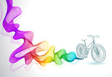 Abstract background with wave and bicycle Stock Photo