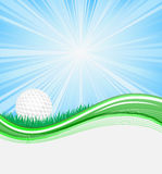 Abstract background. Wave background with golf ball Stock Photography