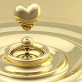 Abstract background waves with a heart drop. Abstract background as a liquid gold waves with a heart like drop in the center Vector Illustration