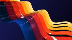 Abstract background with waving colorful stripes. Alpha channel included