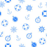 Abstract background wheel anchor compass lifebuoy seamless pattern blue vector Stock Photo