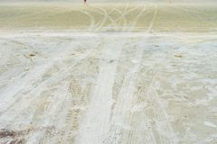 Abstract background of wheel track on the sand, copy space. For text royalty free stock image