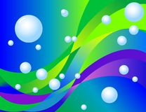 Abstract Background with white Balls. Abstract background with waves and white balls Stock Image