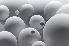 Abstract background with white balls of various size. Abstract illustration of white balls. Digitally generated image. 3D illustration vector illustration