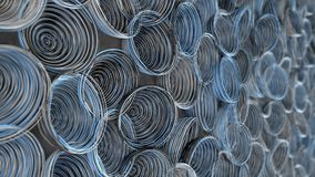 Abstract background from white, black and blue spiraled coils. Colorful wires with depth of field. 3D rendering illustration stock illustration