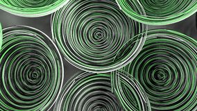 Abstract background from white, black and green spiraled coils. Colorful wires with depth of field. 3D rendering illustration Stock Image