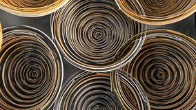 Abstract background from white, black and orange spiraled coils. Colorful wires with depth of field. 3D rendering illustration Royalty Free Stock Photography