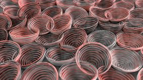 Abstract background from white, black and red spiraled coils. Colorful wires with depth of field. 3D rendering illustration Stock Image