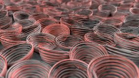 Abstract background from white, black and red spiraled coils. Colorful wires with depth of field. 3D rendering illustration Royalty Free Stock Images