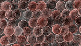 Abstract background from white, black and red spiraled coils. Colorful wires with depth of field. 3D rendering illustration Royalty Free Stock Photography