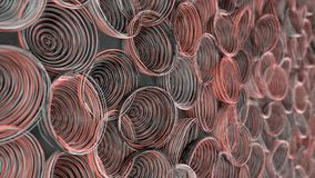 Abstract background from white, black and red spiraled coils. Colorful wires with depth of field. 3D rendering illustration Royalty Free Stock Photo