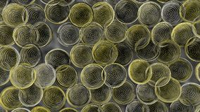Abstract background from white, black and yellow spiraled coils. Colorful wires with depth of field. 3D rendering illustration Royalty Free Stock Photos