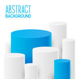 Abstract background with white and blue cylinders Royalty Free Stock Images