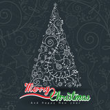Abstract background with White Christmas tree. Illustration. for website and graphic design Royalty Free Illustration