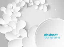 Abstract background with white 3D paper flower petals Royalty Free Stock Images