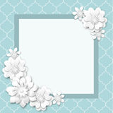 Abstract background with white flowers. With 3d effect, vector illustration, eps 10 with transparency stock illustration