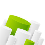 Abstract background. With white and green cylinders stock illustration