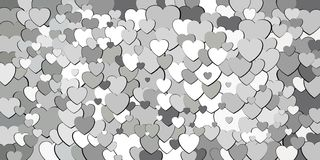 Abstract background with white hearts. Illustration, Various shades of white hearts background Vector Illustration