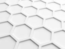 Abstract background with white honeycomb. Abstract wall background with white honeycomb structure. 3d render illustration Stock Photography