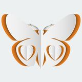 Abstract background with white paper butterfly. And hearts. Vector illustration Stock Images