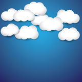 Abstract background- white paper clouds & blue sky. The graphic illustration consists of blue sky and white cottony clouds on a bright summer or spring late Stock Image