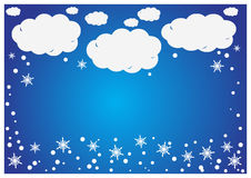 An abstract background of white paper clouds with snowfla Stock Photo