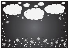 An abstract  background of white paper clouds with snowflakes over grey. Royalty Free Stock Image