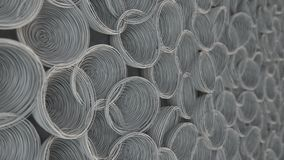Abstract background from white spiraled coils. Wires with depth of field. 3D rendering illustration Stock Images
