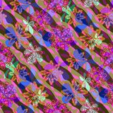 Abstract background with wild colorful design. Oblique stripes with fantastic floral motif. Crazy decoration for warm summer days Stock Photography