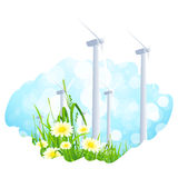 Abstract Background with Wind Power Plant and Flowers Royalty Free Stock Photos