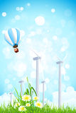 Abstract Background with Wind Power Plant and Hot Air Balloon. Abstract Background with Wind Power Plant, Grass, Flowers and Hot Air Balloon Royalty Free Stock Photos