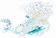 Abstract background wind and water fish and bird. Line drawing stock illustration