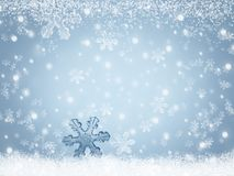 Abstract background winter landscape with snowflakes falling on snow stock illustration