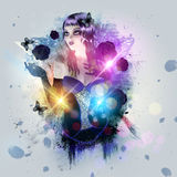 Abstract Background With Gothic Girl Royalty Free Stock Photography