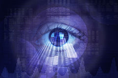 Free Abstract Background With Human Eye And Matrix Royalty Free Stock Image - 62745256