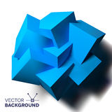 Abstract Background With Overlapping Blue Cubes Stock Photo