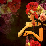 Abstract background woman and flowers Royalty Free Stock Image