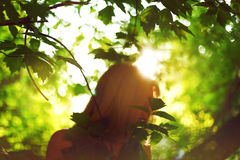 Abstract background with woman silhouette. Behind leaves. Sunlight. Ecology, new age, peace concept Stock Photography