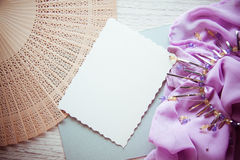 Abstract background with wood and lilac drapery Royalty Free Stock Photography