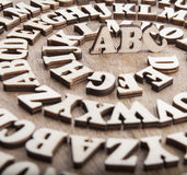 Abstract background with wooden alphabet letters Royalty Free Stock Photo