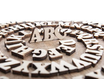 Abstract background with wooden alphabet letters Royalty Free Stock Photography
