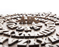 Abstract background with wooden alphabet letters Stock Photos