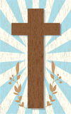 Abstract background with wooden cross. And shining rays Royalty Free Stock Image