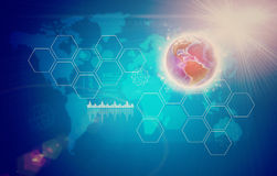 Abstract background with world map and graphical Stock Image