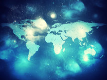 Abstract background with world map. And stars Stock Illustration